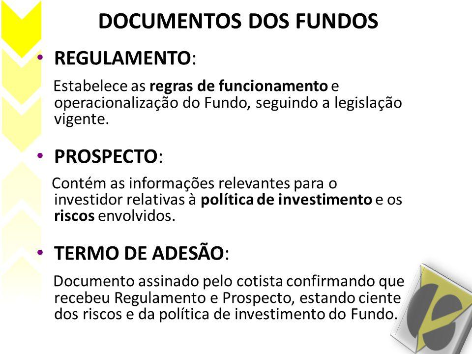 DOCUMENTOS DOS FUNDOS REGULAMENTO: Estabelece as regras de funcionamento e operacionalização do Fundo, seguindo a legislação vigente. PROSPECTO: Conté