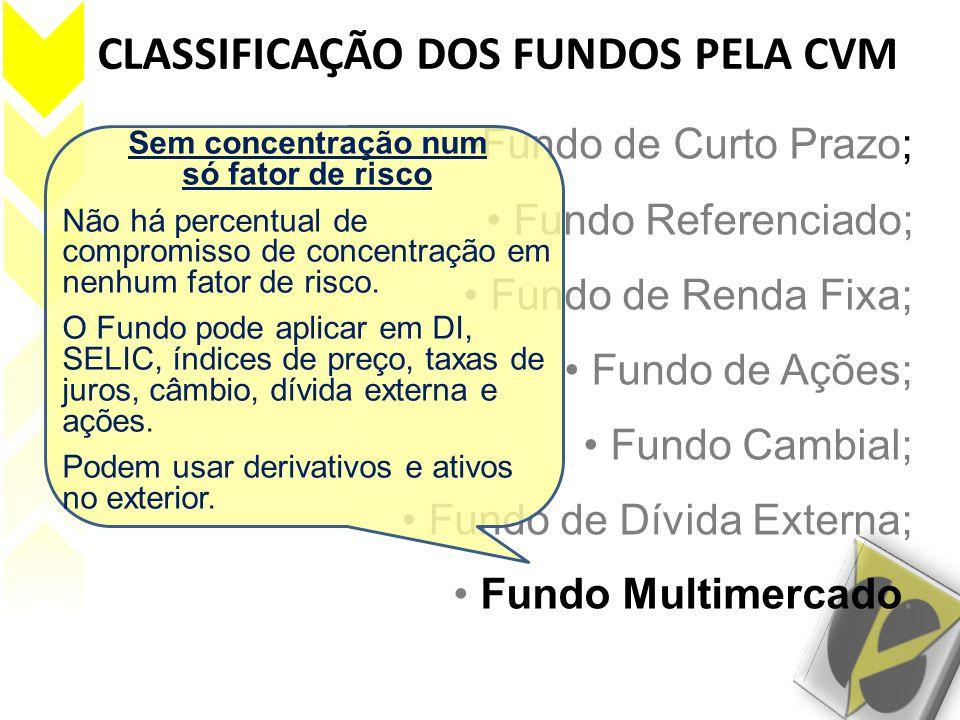 CLASSIFICAÇÃO DOS FUNDOS PELA CVM Fundo de Curto Prazo; Fundo Referenciado; Fundo de Renda Fixa; Fundo de Ações; Fundo Cambial; Fundo de Dívida Extern
