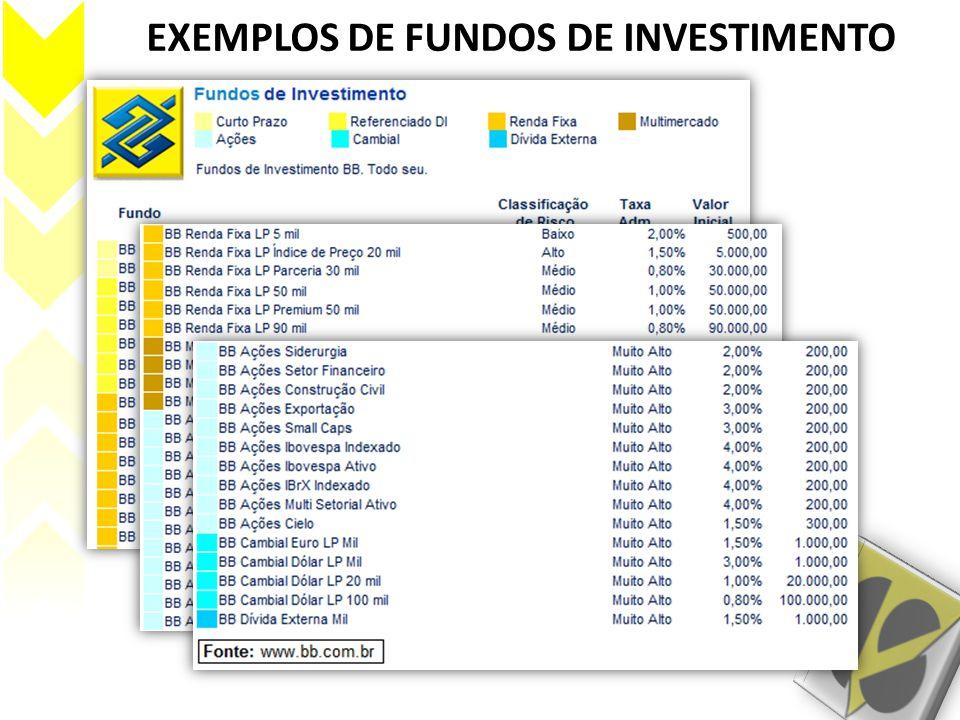 (continua) EXEMPLOS DE FUNDOS DE INVESTIMENTO