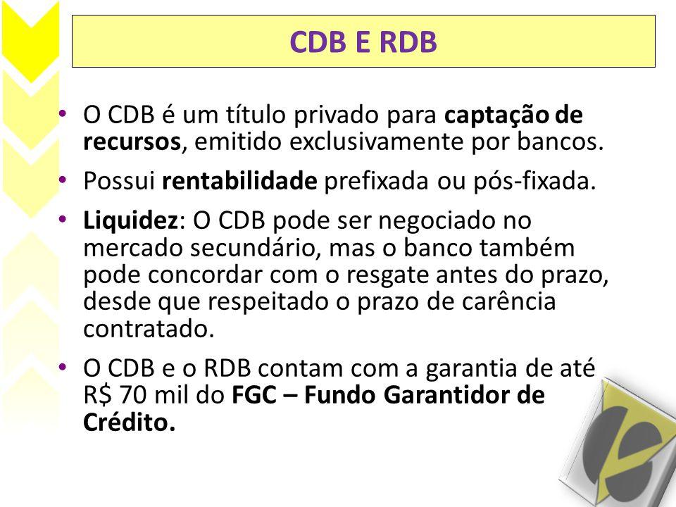 CDB E RDB O CDB é um título privado para captação de recursos, emitido exclusivamente por bancos. Possui rentabilidade prefixada ou pós-fixada. Liquid