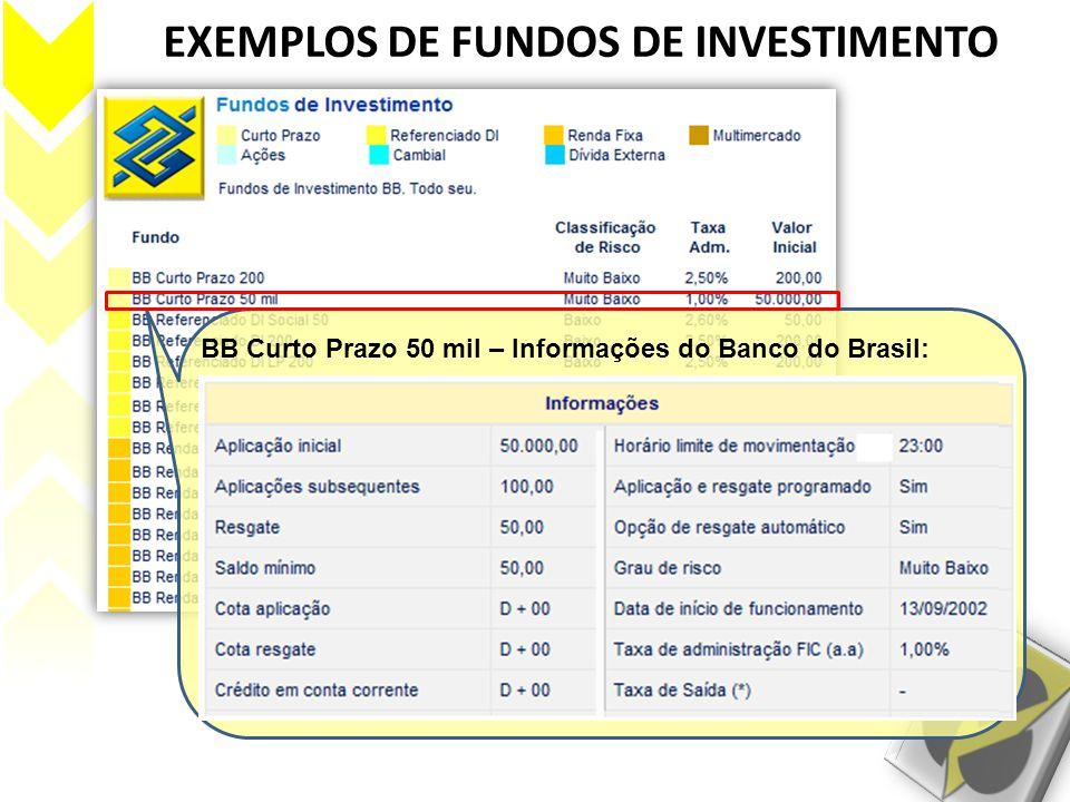 BB Curto Prazo 50 mil – Informações do Banco do Brasil: Este fundo investe, preferencialmente, em títulos de renda fixa públicos, pós-fixados, que ofe