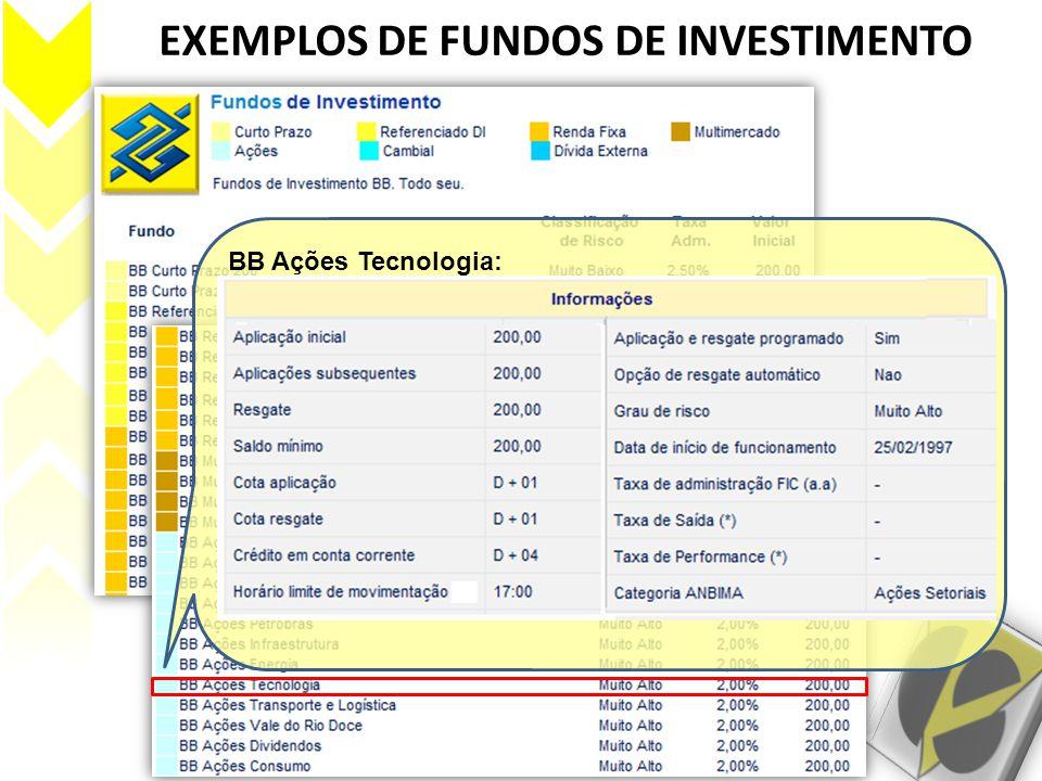 EXEMPLOS DE FUNDOS DE INVESTIMENTO BB Ações Tecnologia: Este fundo pretende investir em ações de empresas dos setores de tecnologia, mídia e telecomun