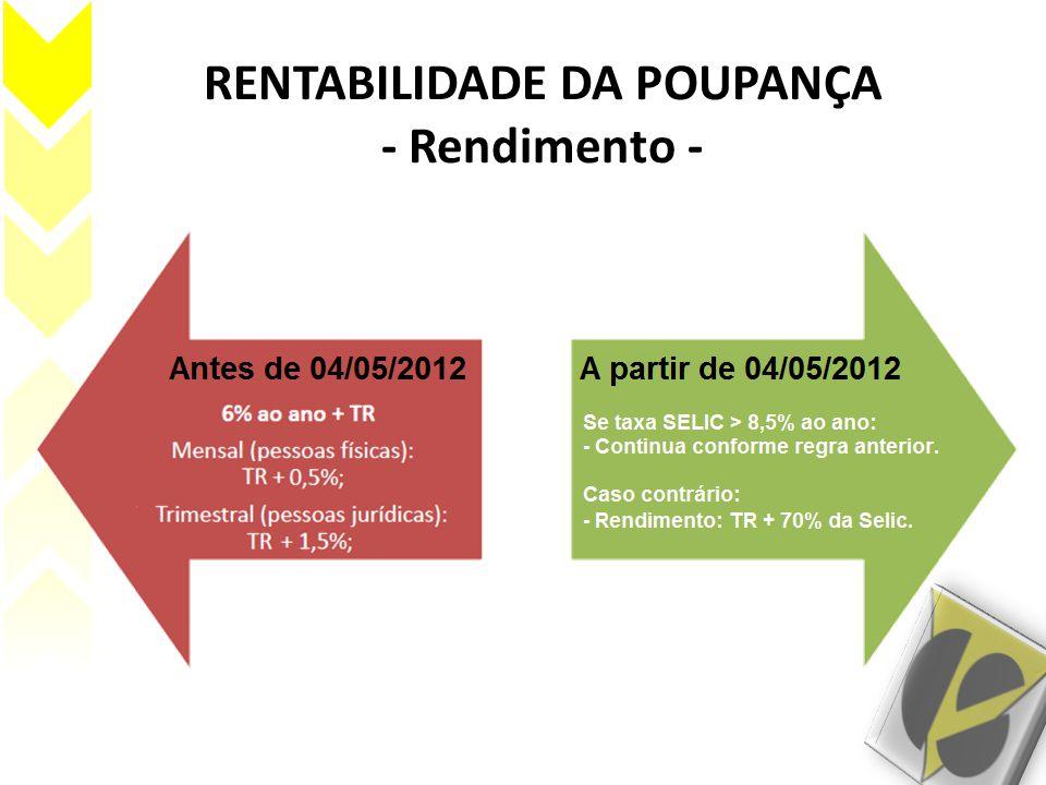 RENTABILIDADE DA POUPANÇA - Rendimento -