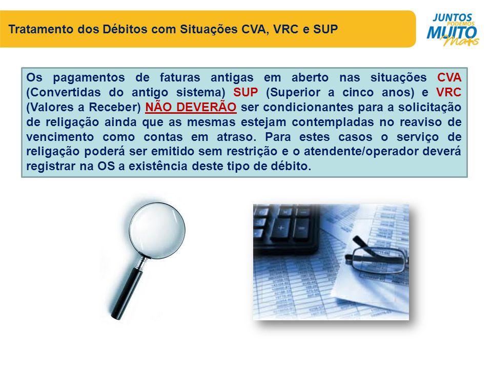 Tratamento dos Débitos com Situações CVA, VRC e SUP Os pagamentos de faturas antigas em aberto nas situações CVA (Convertidas do antigo sistema) SUP (