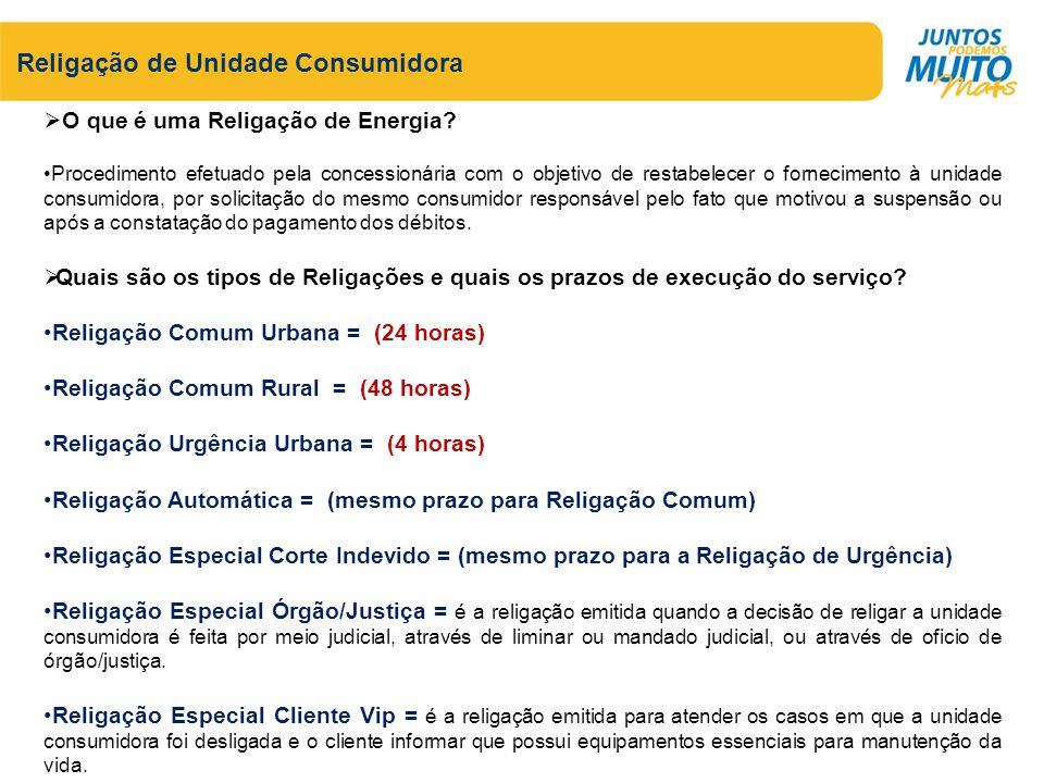 Religação de Unidade Consumidora Quais os horários de atendimento para solicitação de Religação.