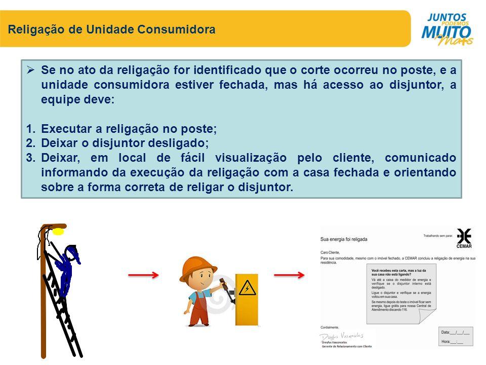 Religação de Unidade Consumidora Se no ato da religação for identificado que o corte ocorreu no poste, e a unidade consumidora estiver fechada, mas há
