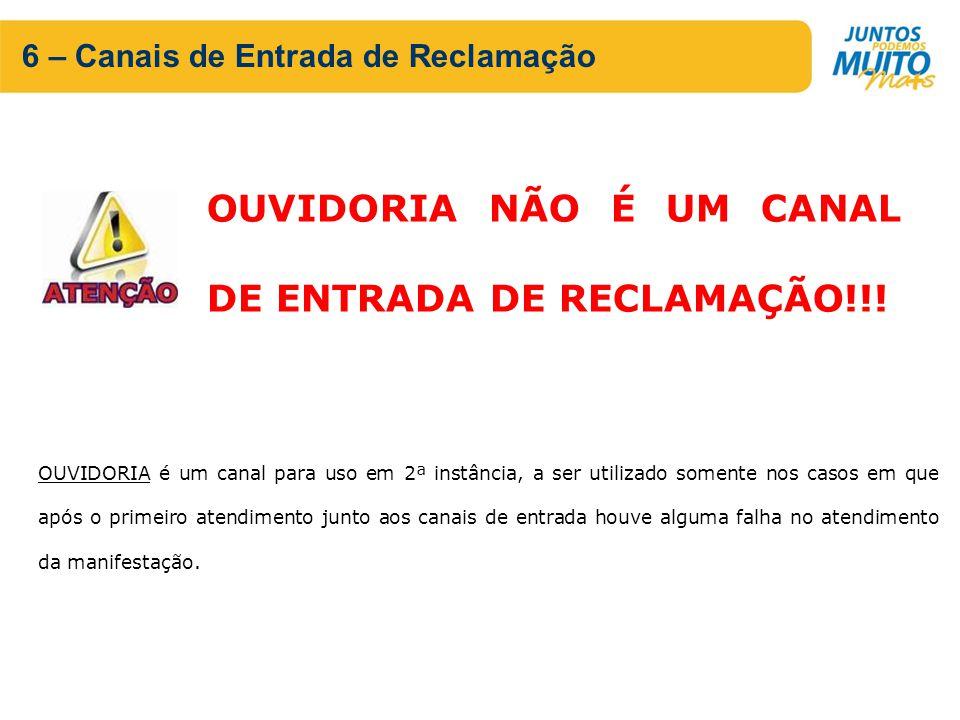 6 – Canais de Entrada de Reclamação OUVIDORIA NÃO É UM CANAL DE ENTRADA DE RECLAMAÇÃO!!.