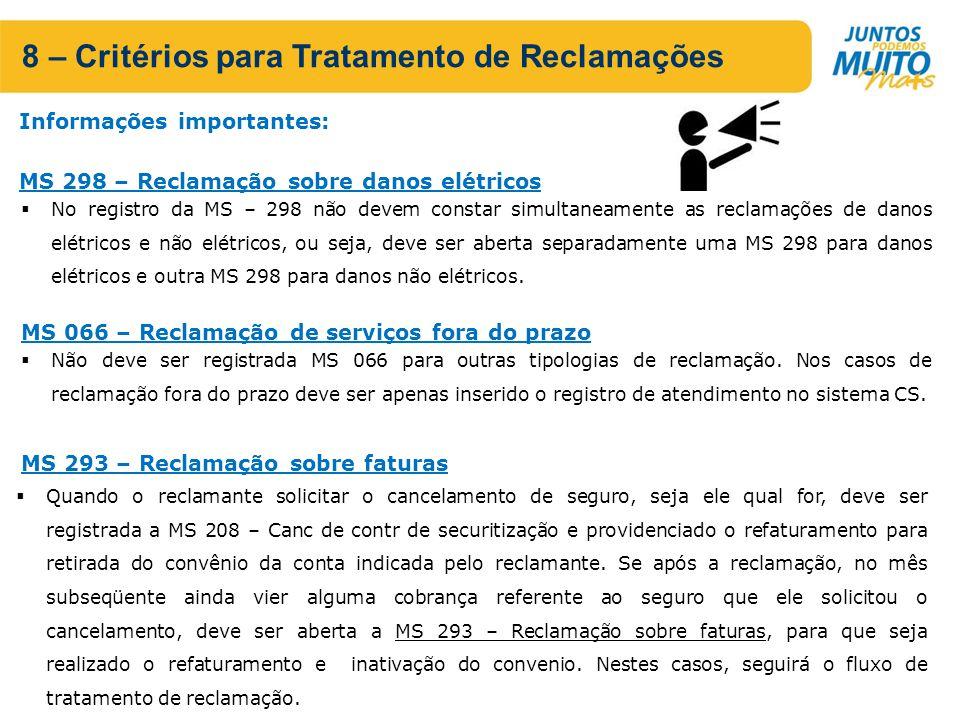 8 – Critérios para Tratamento de Reclamações No registro da MS – 298 não devem constar simultaneamente as reclamações de danos elétricos e não elétricos, ou seja, deve ser aberta separadamente uma MS 298 para danos elétricos e outra MS 298 para danos não elétricos.