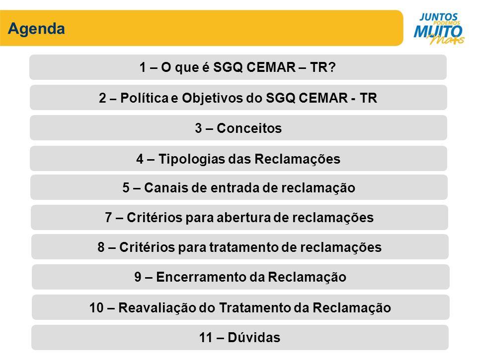 Agenda 1 – O que é SGQ CEMAR – TR.