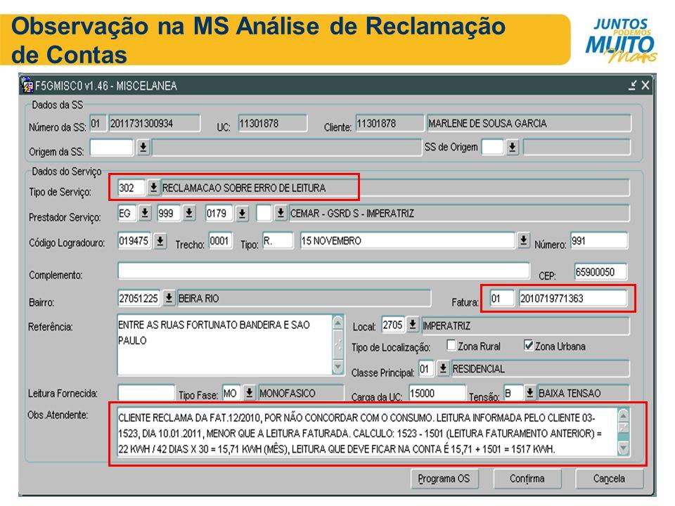 Observação na MS Análise de Reclamação de Contas