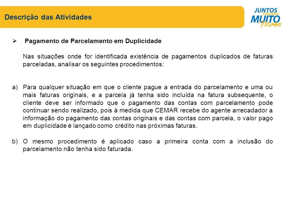 Descrição das Atividades Pagamento de Parcelamento em Duplicidade Nas situações onde for identificada existência de pagamentos duplicados de faturas p