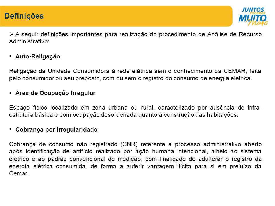 Definições A seguir definições importantes para realização do procedimento de Análise de Recurso Administrativo: Auto-Religação Religação da Unidade C