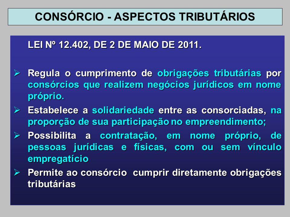 LEI Nº 12.402, DE 2 DE MAIO DE 2011. Regula o cumprimento de obrigações tributárias por consórcios que realizem negócios jurídicos em nome próprio. Re
