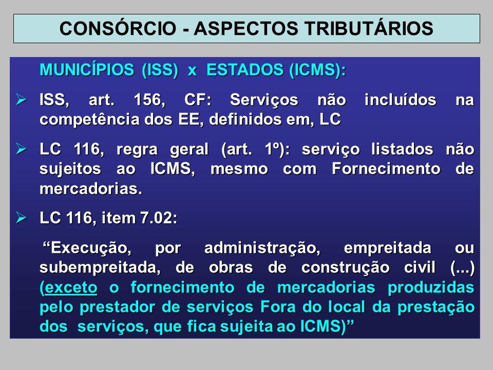 MUNICÍPIOS (ISS) x ESTADOS (ICMS): ISS, art. 156, CF: Serviços não incluídos na competência dos EE, definidos em, LC ISS, art. 156, CF: Serviços não i