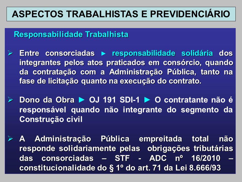 Responsabilidade Trabalhista Responsabilidade Trabalhista Entre consorciadas responsabilidade solidária dos integrantes pelos atos praticados em consó