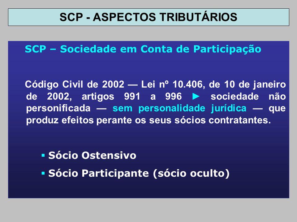 SCP – Sociedade em Conta de Participação Código Civil de 2002 Lei nº 10.406, de 10 de janeiro de 2002, artigos 991 a 996 sociedade não personificada s