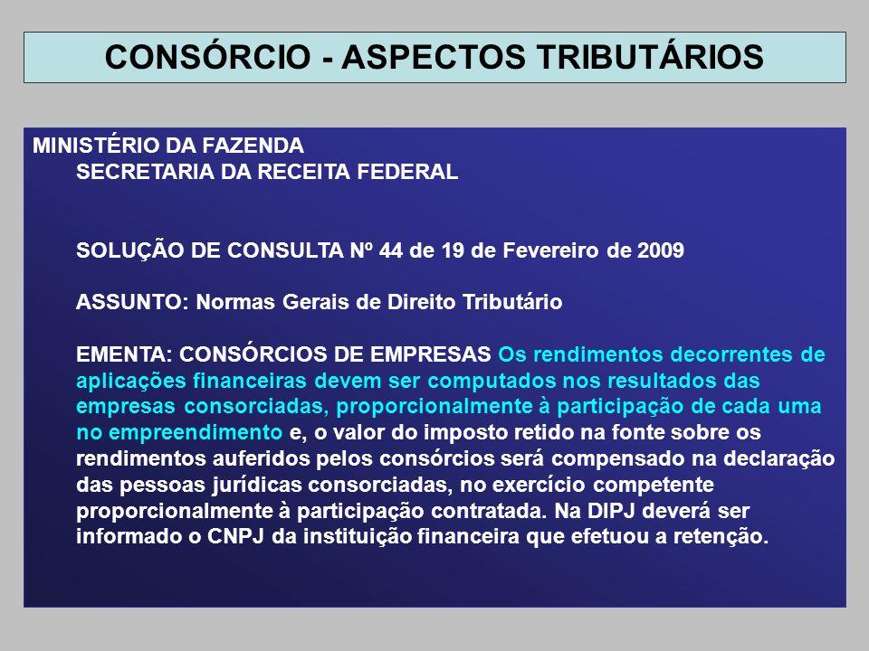 MINISTÉRIO DA FAZENDA SECRETARIA DA RECEITA FEDERAL SOLUÇÃO DE CONSULTA Nº 44 de 19 de Fevereiro de 2009 ASSUNTO: Normas Gerais de Direito Tributário