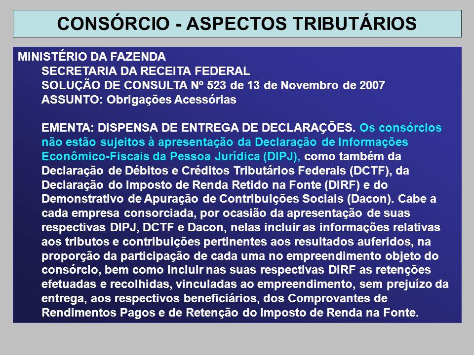 MINISTÉRIO DA FAZENDA SECRETARIA DA RECEITA FEDERAL SOLUÇÃO DE CONSULTA Nº 523 de 13 de Novembro de 2007 ASSUNTO: Obrigações Acessórias EMENTA: DISPEN