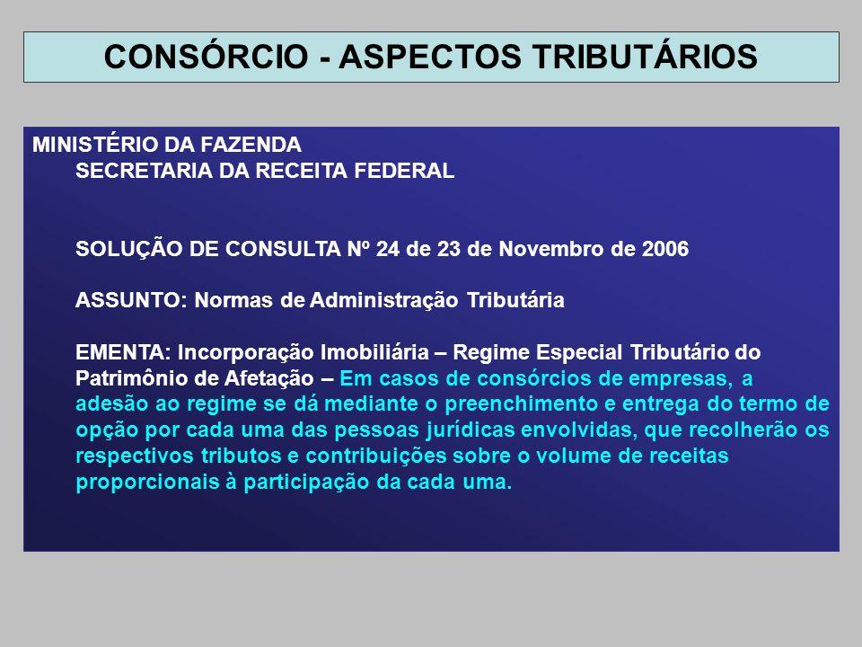 MINISTÉRIO DA FAZENDA SECRETARIA DA RECEITA FEDERAL SOLUÇÃO DE CONSULTA Nº 24 de 23 de Novembro de 2006 ASSUNTO: Normas de Administração Tributária EM