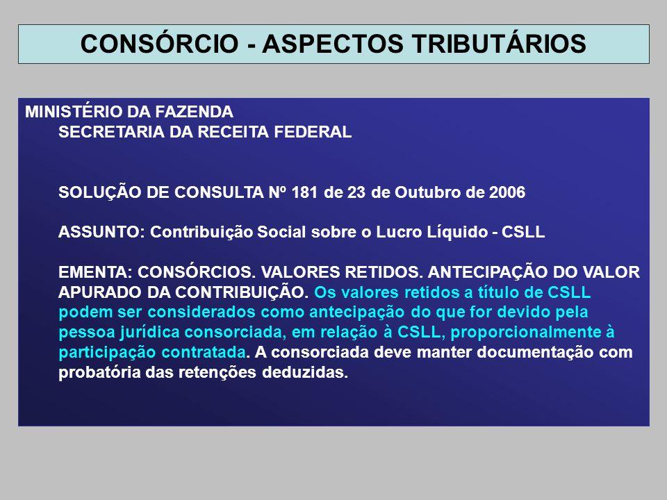MINISTÉRIO DA FAZENDA SECRETARIA DA RECEITA FEDERAL SOLUÇÃO DE CONSULTA Nº 181 de 23 de Outubro de 2006 ASSUNTO: Contribuição Social sobre o Lucro Líq