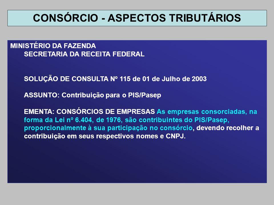 MINISTÉRIO DA FAZENDA SECRETARIA DA RECEITA FEDERAL SOLUÇÃO DE CONSULTA Nº 115 de 01 de Julho de 2003 ASSUNTO: Contribuição para o PIS/Pasep EMENTA: C