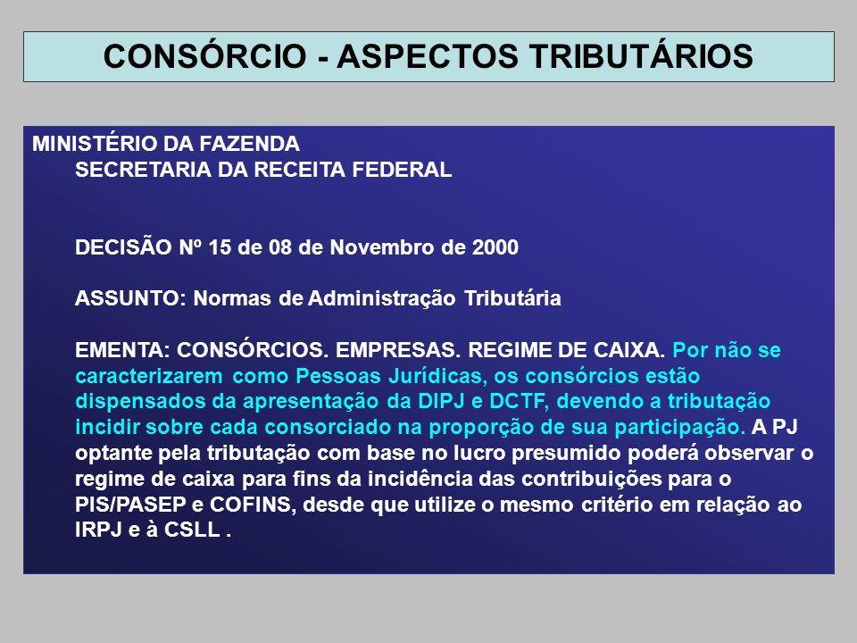 MINISTÉRIO DA FAZENDA SECRETARIA DA RECEITA FEDERAL DECISÃO Nº 15 de 08 de Novembro de 2000 ASSUNTO: Normas de Administração Tributária EMENTA: CONSÓR