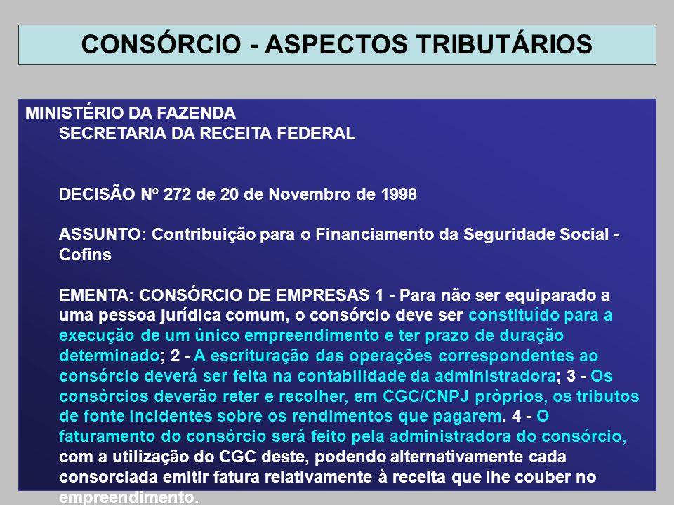 MINISTÉRIO DA FAZENDA SECRETARIA DA RECEITA FEDERAL DECISÃO Nº 272 de 20 de Novembro de 1998 ASSUNTO: Contribuição para o Financiamento da Seguridade