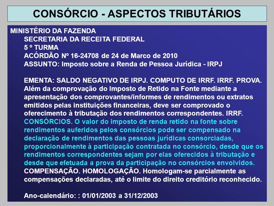 MINISTÉRIO DA FAZENDA SECRETARIA DA RECEITA FEDERAL 5 º TURMA ACÓRDÃO Nº 16-24708 de 24 de Marco de 2010 ASSUNTO: Imposto sobre a Renda de Pessoa Jurí