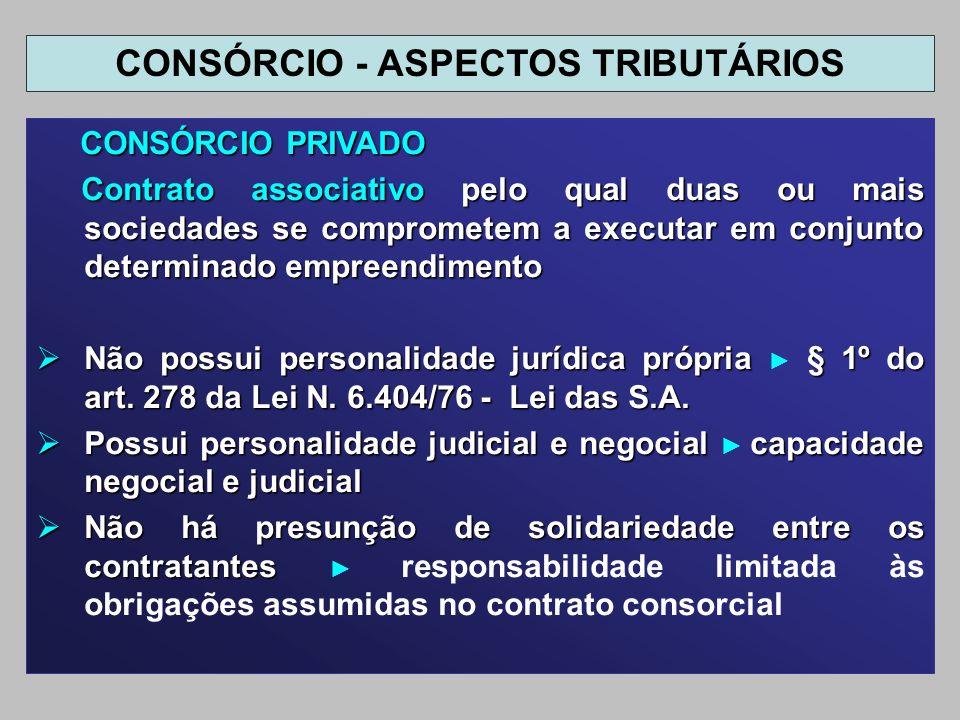 CONSÓRCIO PRIVADO CONSÓRCIO PRIVADO Contrato associativo pelo qual duas ou mais sociedades se comprometem a executar em conjunto determinado empreendi
