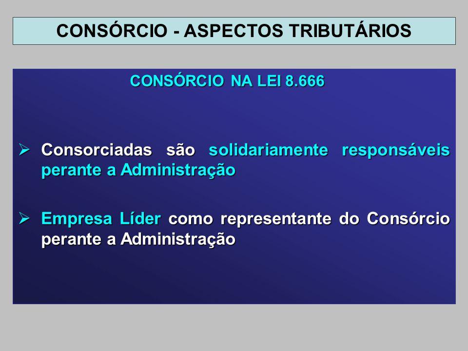 CONSÓRCIO NA LEI 8.666 CONSÓRCIO NA LEI 8.666 Consorciadas são solidariamente responsáveis perante a Administração Consorciadas são solidariamente res