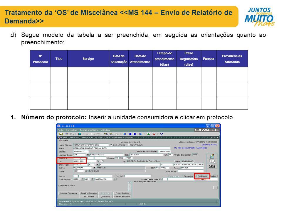 Tratamento da OS de Miscelânea > d)Segue modelo da tabela a ser preenchida, em seguida as orientações quanto ao preenchimento: 1.Número do protocolo: Inserir a unidade consumidora e clicar em protocolo.