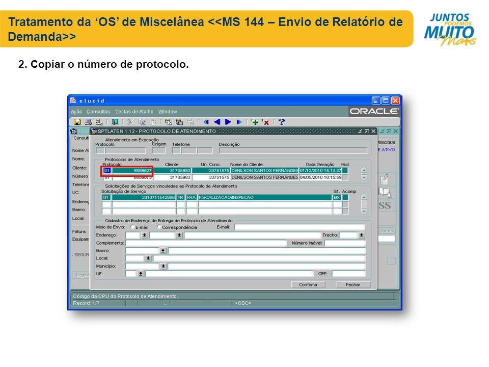 Tratamento da OS de Miscelânea > 2. Copiar o número de protocolo.