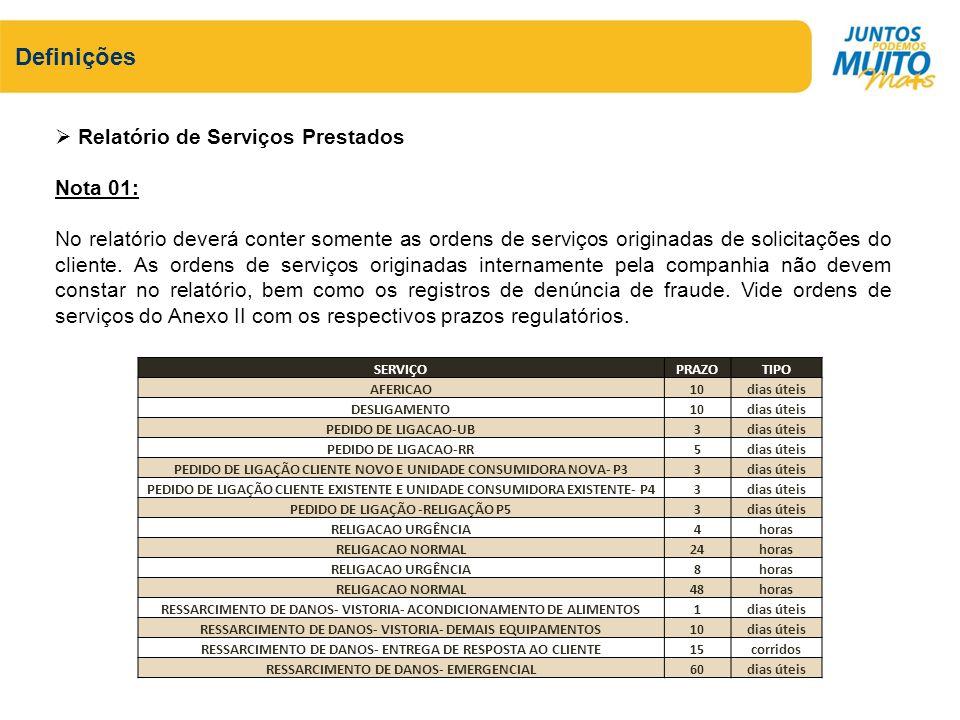 Relatório de Serviços Prestados Nota 01: No relatório deverá conter somente as ordens de serviços originadas de solicitações do cliente. As ordens de