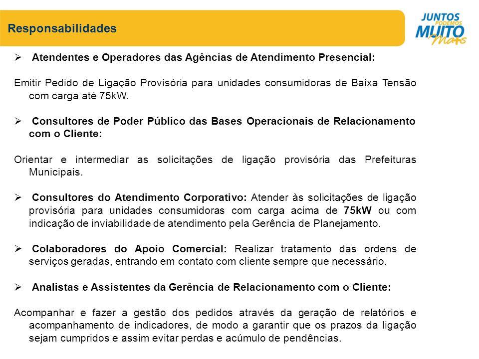 Atendentes e Operadores das Agências de Atendimento Presencial: Emitir Pedido de Ligação Provisória para unidades consumidoras de Baixa Tensão com car