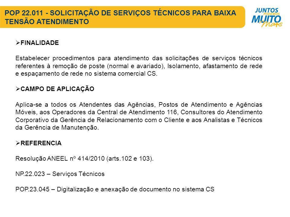 POP 22.011 - SOLICITAÇÃO DE SERVIÇOS TÉCNICOS PARA BAIXA TENSÃO ATENDIMENTO FINALIDADE Estabelecer procedimentos para atendimento das solicitações de