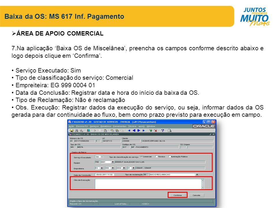 Baixa da OS: MS 617 Inf.
