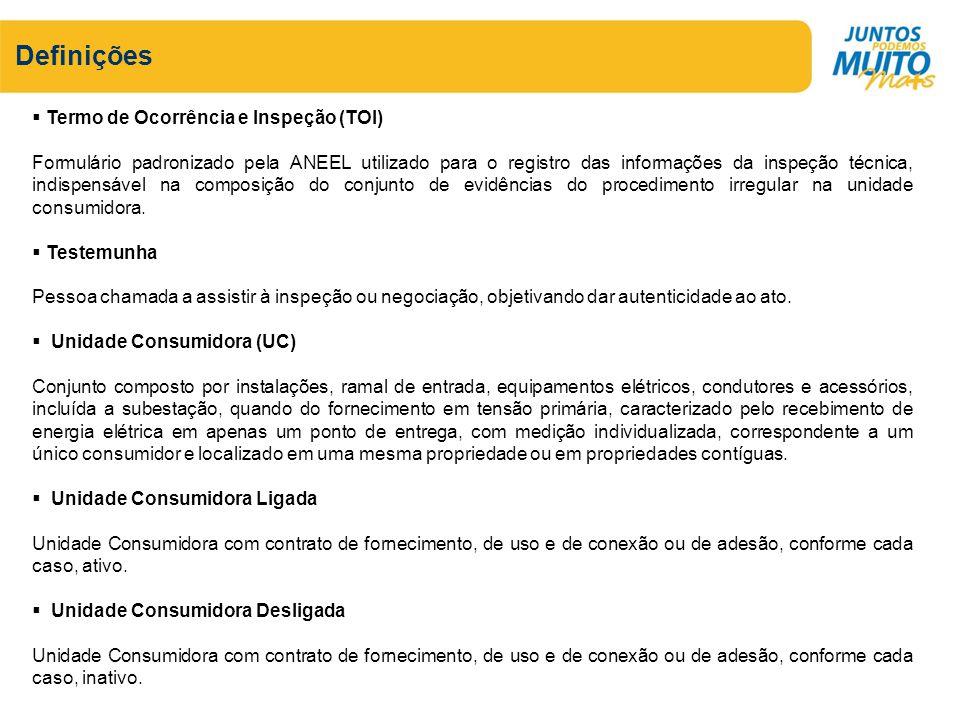 Definições Termo de Ocorrência e Inspeção (TOI) Formulário padronizado pela ANEEL utilizado para o registro das informações da inspeção técnica, indis