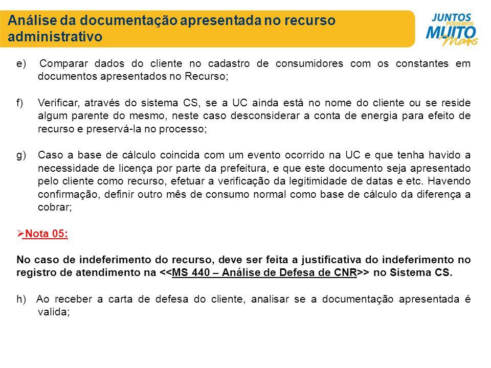 Análise da documentação apresentada no recurso administrativo e) Comparar dados do cliente no cadastro de consumidores com os constantes em documentos