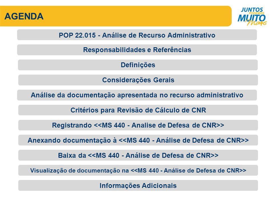 AGENDA Responsabilidades e Referências POP 22.015 - Análise de Recurso Administrativo Definições Considerações Gerais Análise da documentação apresent