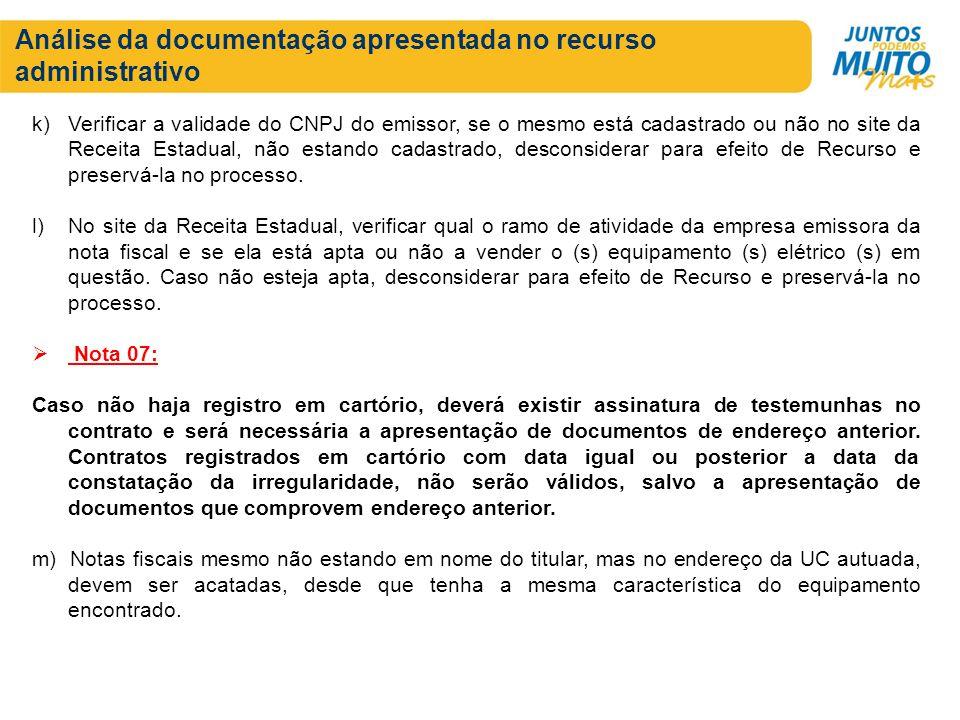 Análise da documentação apresentada no recurso administrativo k)Verificar a validade do CNPJ do emissor, se o mesmo está cadastrado ou não no site da