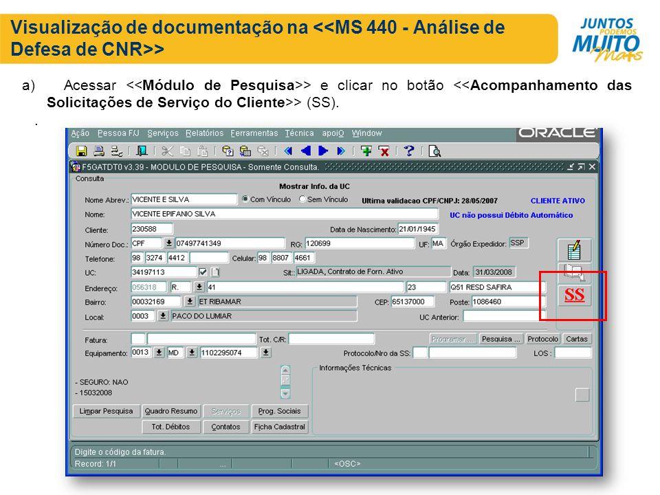 Visualização de documentação na > a) Acessar > e clicar no botão > (SS)..