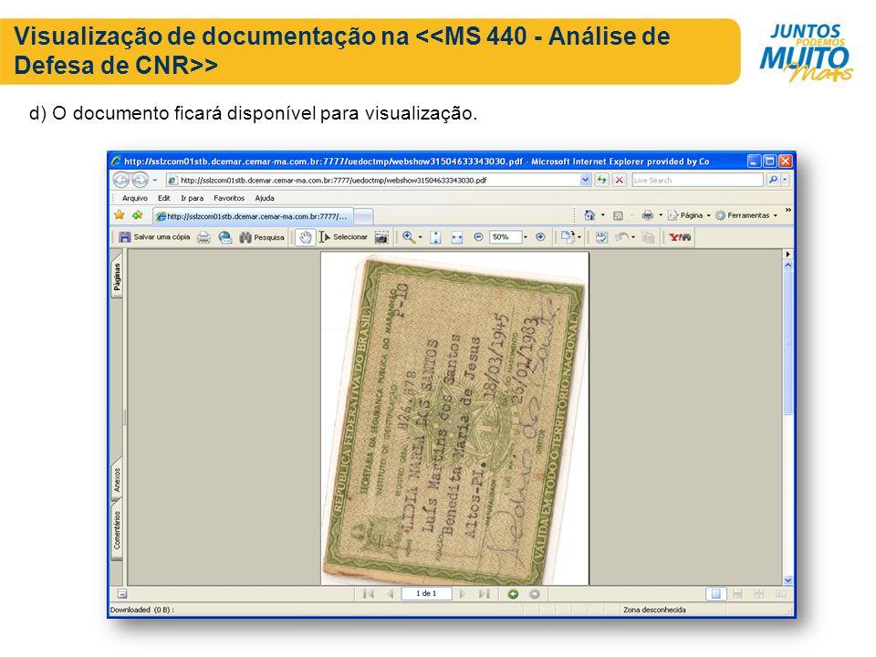 Visualização de documentação na > d) O documento ficará disponível para visualização.