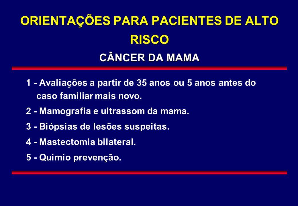 ORIENTAÇÕES PARA PACIENTES DE ALTO RISCO CÂNCER DA MAMA 1 - Avaliações a partir de 35 anos ou 5 anos antes do caso familiar mais novo. 2 - Mamografia