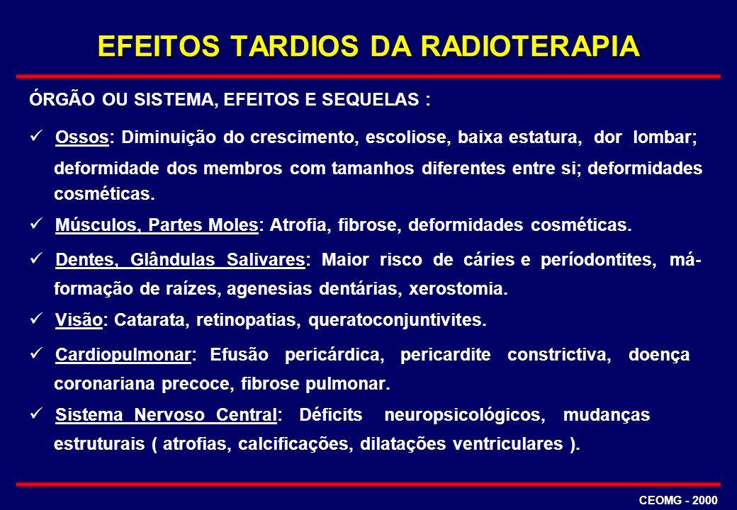 EFEITOS TARDIOS DA RADIOTERAPIA ÓRGÃO OU SISTEMA, EFEITOS E SEQUELAS : Ossos: Diminuição do crescimento, escoliose, baixa estatura, dor lombar; deform