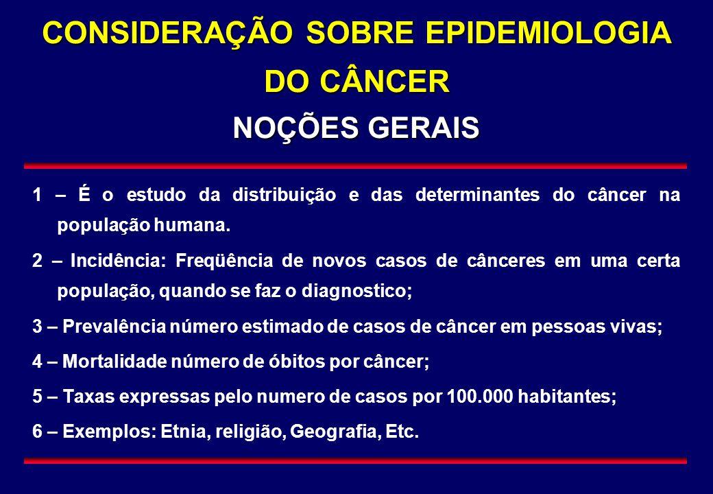 CONSIDERAÇÃO SOBRE EPIDEMIOLOGIA DO CÂNCER NOÇÕES GERAIS 1 – É o estudo da distribuição e das determinantes do câncer na população humana. 2 – Incidên