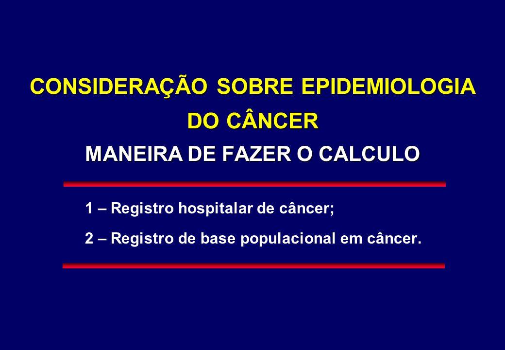 CONSIDERAÇÃO SOBRE EPIDEMIOLOGIA DO CÂNCER MANEIRA DE FAZER O CALCULO 1 – Registro hospitalar de câncer; 2 – Registro de base populacional em câncer.