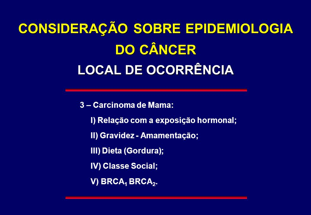 CONSIDERAÇÃO SOBRE EPIDEMIOLOGIA DO CÂNCER LOCAL DE OCORRÊNCIA 3 – Carcinoma de Mama: I) Relação com a exposição hormonal; II) Gravidez - Amamentação;
