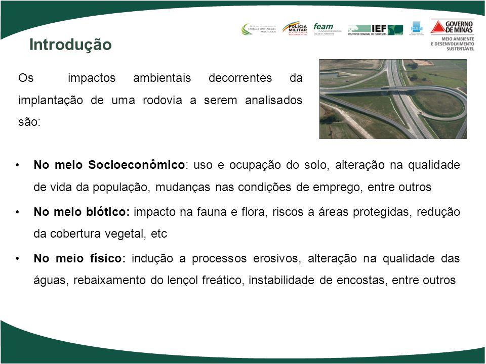 Introdução No meio Socioeconômico: uso e ocupação do solo, alteração na qualidade de vida da população, mudanças nas condições de emprego, entre outro