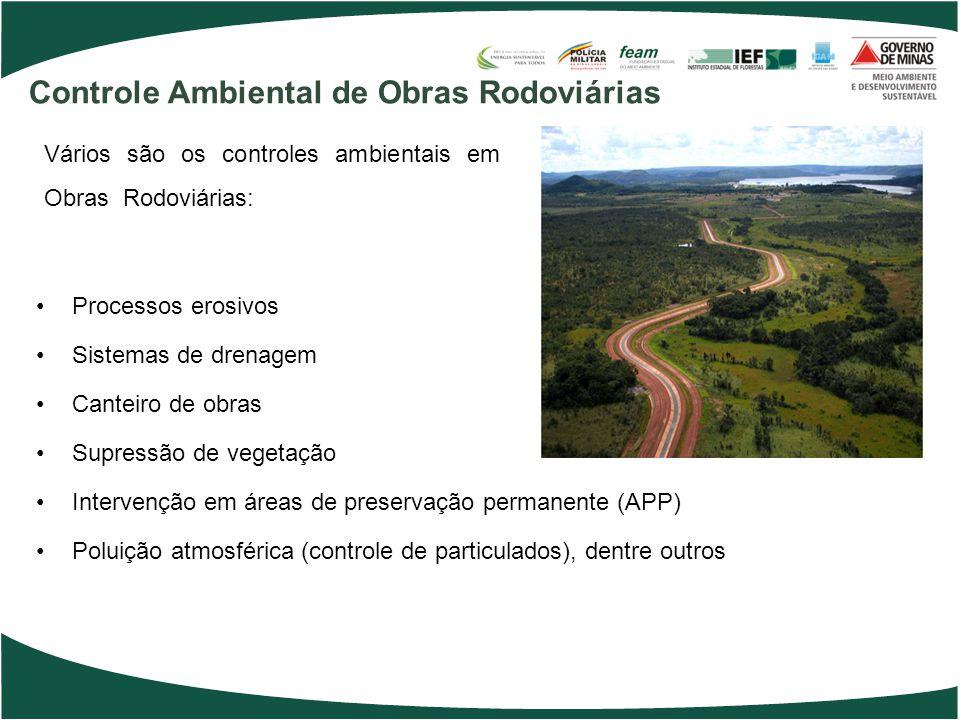 Vários são os controles ambientais em Obras Rodoviárias: Processos erosivos Sistemas de drenagem Canteiro de obras Supressão de vegetação Intervenção em áreas de preservação permanente (APP) Poluição atmosférica (controle de particulados), dentre outros Controle Ambiental de Obras Rodoviárias