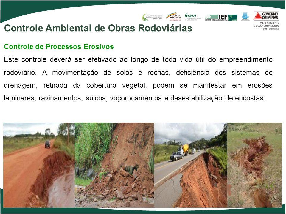Controle Ambiental de Obras Rodoviárias Controle de Processos Erosivos Este controle deverá ser efetivado ao longo de toda vida útil do empreendimento rodoviário.